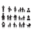 black happy family icons set vector image