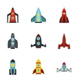 Fast rockets icons set flat style vector image