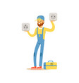 professional electrician man character standing vector image