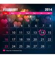 Valentine Day Calendar 2014 vector image vector image
