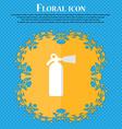 fire extinguisher Floral flat design on a blue vector image