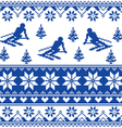 Winter knit pattern - man skiing - blue pattern vector image