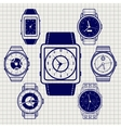 Ball pen watch icons set vector image