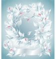 Frame or Background with flowers pearls petals rib vector image