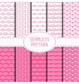 Set of pink romantic seamless pattern with hearts vector image