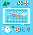 Swimming Pool in Top View with Outdoor Element vector image