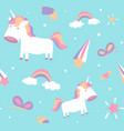 unicorn pattern cute seamless design with baby vector image