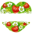 strawberry frame in the shape of heart vector image vector image
