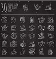 tea hand draw icon set - cup bag kettle with vector image