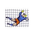 Soccer football goalie keeper saving goal vector image vector image