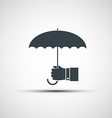 logo of a human hand holding the umbrella vector image