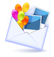 Open envelope with colorful balloons vector image