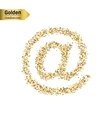 Gold glitter icon of e-mail isolated on vector image