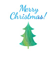 watercolor winter label with text Merry Christmas vector image