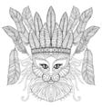 Zentangle Cat with indian war bonnet bird feathers vector image