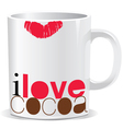 i love cocoa cup vector image