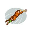 Soccer football goalie keeper saving goal vector image