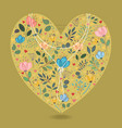 romantic heart with flowers and pearl necklace vector image
