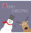 Snowman and deer Violet background Candy cane vector image