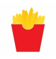 French fries potato in red paper box icon vector image