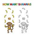cartoon monkey counting bananas coloring book vector image