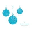 Christmas ornaments frame blue snowflakes textile vector image