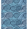 Seamless background of curled abstract blue waves vector image