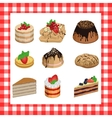 Set of sweet appetizing cakes on a red plaid vector image