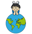 Boywith a globe vector image vector image