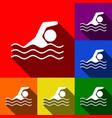 swimming water sport sign  set of icons vector image