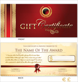 Red Gift Certificate Template vector image vector image