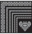 grey set of seamless ornamental floral stripes vector image vector image