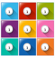 Icons with wall clocks vector image