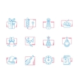 Winter celebration blue and red line icons vector image