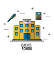 color poster of back to school with school vector image