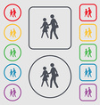 crosswalk icon sign symbol on the Round and square vector image