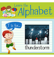 Flashcard letter T is for thunderstorm vector image