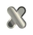 letter x steel font metal alphabet sign iron abc vector image