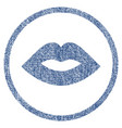 lips rounded fabric textured icon vector image