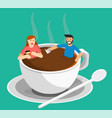 meeting coffee woman and man vector image