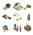 public justice isometric 3d elements vector image