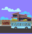 residential modern house with bus stop and bus vector image