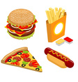 Set Fast food isometrics Big juicy hamburger and vector image