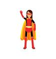 superhero woman in orange cape vector image