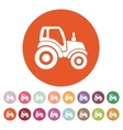 The tractor icon Agrimotor symbol Flat vector image