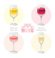 wine alcohol drink glasses types icon set - red vector image