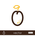 Plum outline icon Fruit vector image