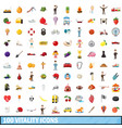 100 vitality icons set cartoon style vector image