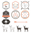 Set of vintage deer icons emblems and labels vector image