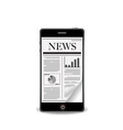 reading newspaper with smart phone vector image vector image